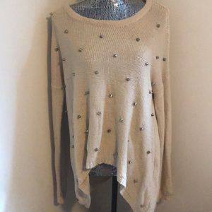 Tan gold studded sweater